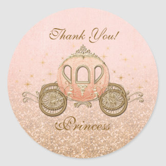 Coral Royal Fairytale Princess Circle Stickers