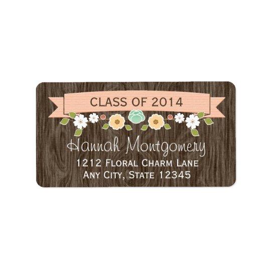Coral Rustic Floral Graduation Return Address Label