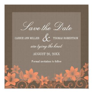 """Coral Rustic Floral Save the Date Invite 5.25"""" Square Invitation Card"""