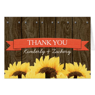 CORAL RUSTIC SUNFLOWER WEDDING THANK YOU CARD