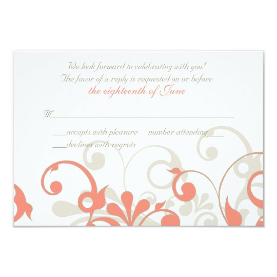 Coral, Sand Tan, White Floral Wedding RSVP Card