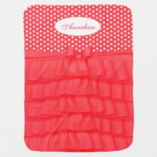 Coral Satin Ruffles & Matching Bow with Polka Dots Baby Blanket
