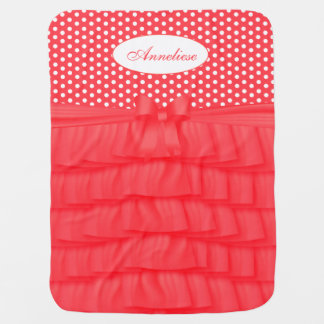 Coral Satin Ruffles & Matching Bow with Polka Dots Receiving Blanket