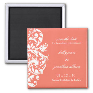 Coral Save the Date Wedding Magnet