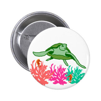 Coral scene sea turtle button