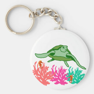 Coral  scene sea turtle key chain