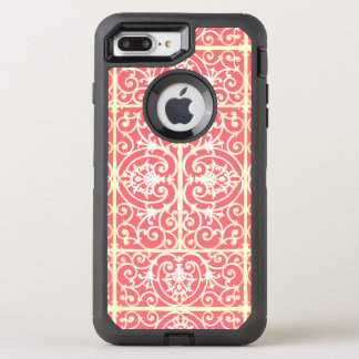 Coral scrollwork pattern OtterBox defender iPhone 7 plus case