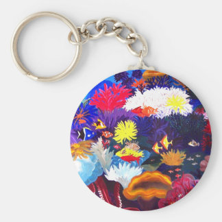 Coral Sea Basic Round Button Key Ring