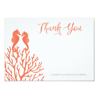 Coral Seahorse Thank You Card
