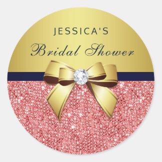 Coral Sequins Gold Navy Diamonds Bow Bridal Shower Round Sticker