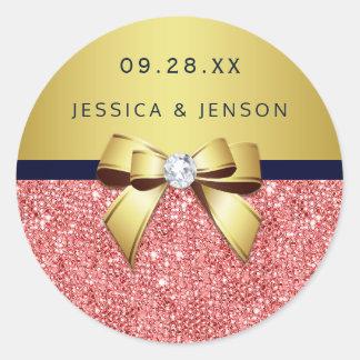 Coral Sequins Gold Navy Diamonds Bow Wedding Round Sticker