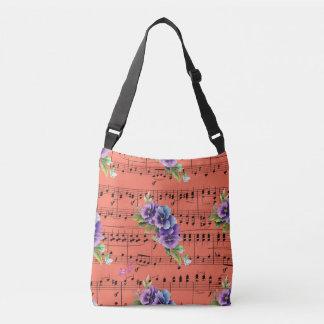 Coral Sheet Music Purple & Blue Flowers Crossbody Bag