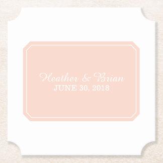 Coral Simply Elegant Wedding Paper Coaster