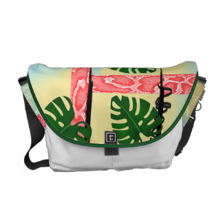 Coral Snakeskin Tropical Leaves Messenger Bag