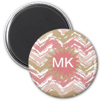 Coral Spice Scribble ZigZag Chevron Pattern 6 Cm Round Magnet