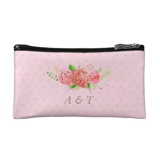 Coral Spring Bride Makeup Bag