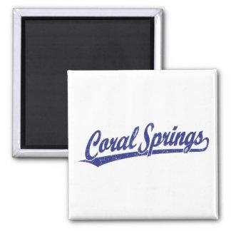 Coral Springs script logo in blue Refrigerator Magnets