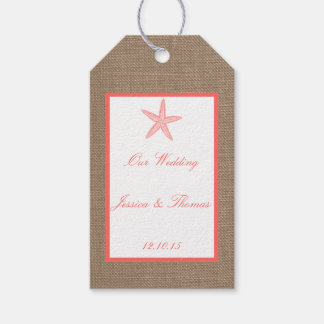 Coral Starfish Burlap Beach Wedding Collection Gift Tags