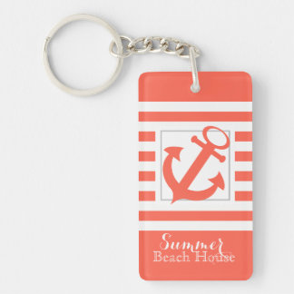 Coral Stripe Beach House Double-Sided Rectangular Acrylic Key Ring