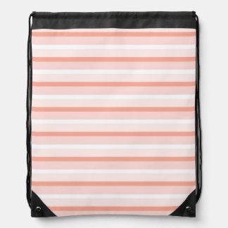 Coral Stripe drawstring backpack
