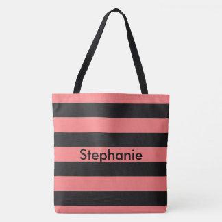 Coral Stripe Tote Bag
