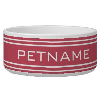 Coral Stripes custom monogram pet bowls