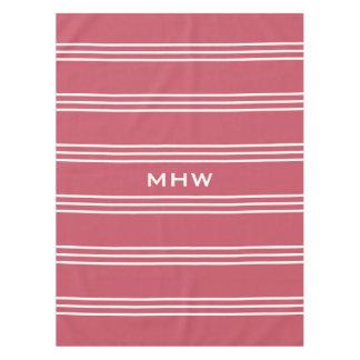 Coral Stripes custom monogram table cloths