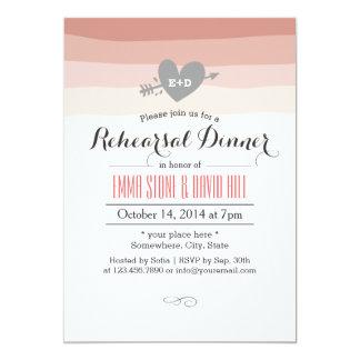 Coral Stripes Heart & Arrow Rehearsal Dinner 13 Cm X 18 Cm Invitation Card
