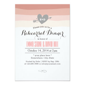Coral Stripes Heart & Arrow Rehearsal Dinner 5x7 Paper Invitation Card