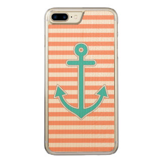 Coral Stripes Teal Anchor Nautical Carved iPhone 8 Plus/7 Plus Case