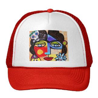 Coral Sugar Skull Mesh Hat