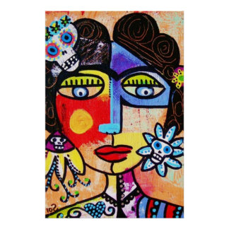Coral Sugar Skull Mexican Woman Poster