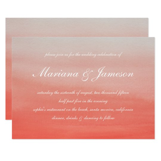 Coral Sunset Beach Watercolor Wedding Card