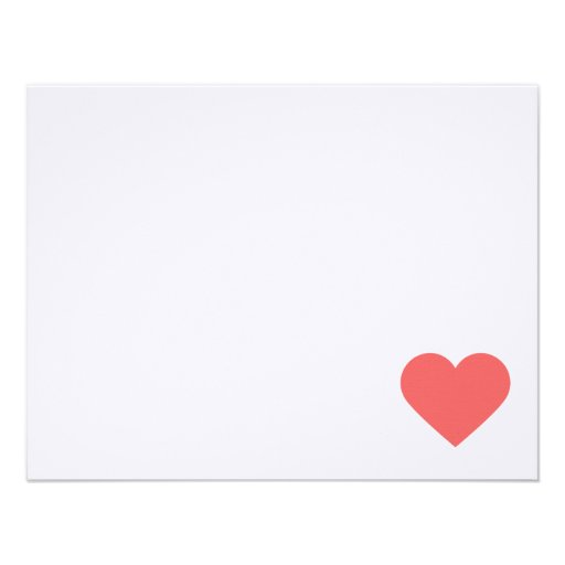 Coral Sweet Hearts Valentine Note Cards