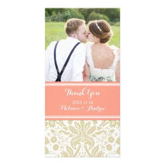Coral Tan Damask Thank You Wedding Photo Cards
