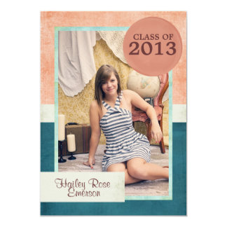 Coral Teal and Mint Photo Graduation Announcement