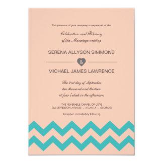 Coral & Teal Blue Chevron Wedding Invitation