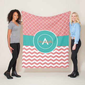 Coral Teal Chevron Quatrefoil Fleece Blanket