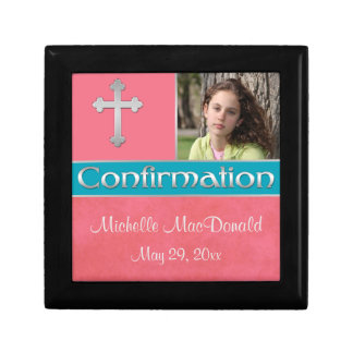 Coral, Teal Confirmation Keepsake Jewelry Box