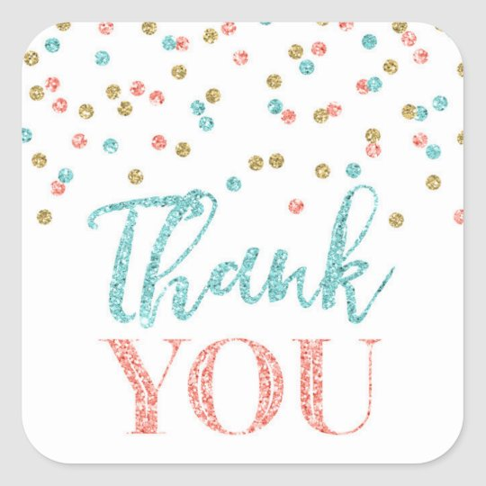 Coral Teal Gold Confetti Thank You Favour Sticker