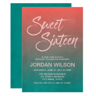 Coral & Teal Gradient Sweet 16 Birthday Invitation