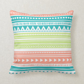 Coral Teal Lime Tribal Decorative Pillow