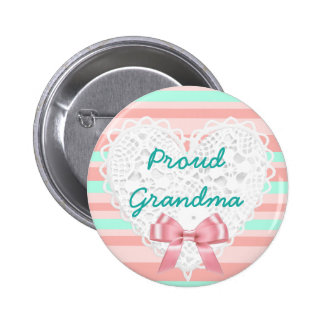 Coral & Teal Proud Grandma Baby Shower Button