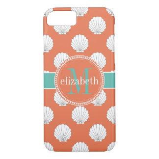 Coral Teal White Clamshells Seashells Monogram iPhone 7 Case