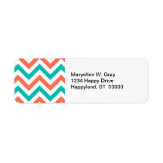 Coral, Teal, White Large Chevron ZigZag Pattern