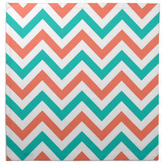Coral, Teal, White Large Chevron ZigZag Pattern Napkin