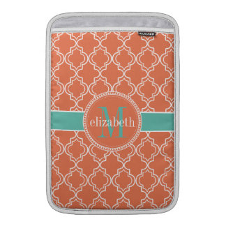 Coral Teal White Moroccan Quatrefoil Monogram MacBook Sleeve