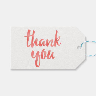 Coral thank you favor tags, foil, horizontal