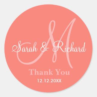 Coral Thank You Wedding Monogram Sticker