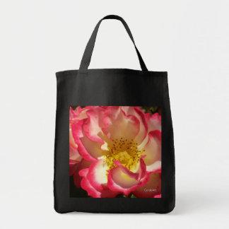Coral-Tinged Rose Grocery Tote Bag